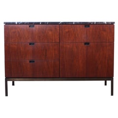 Florence Knoll Credenza with Bronze Base and Stone Top
