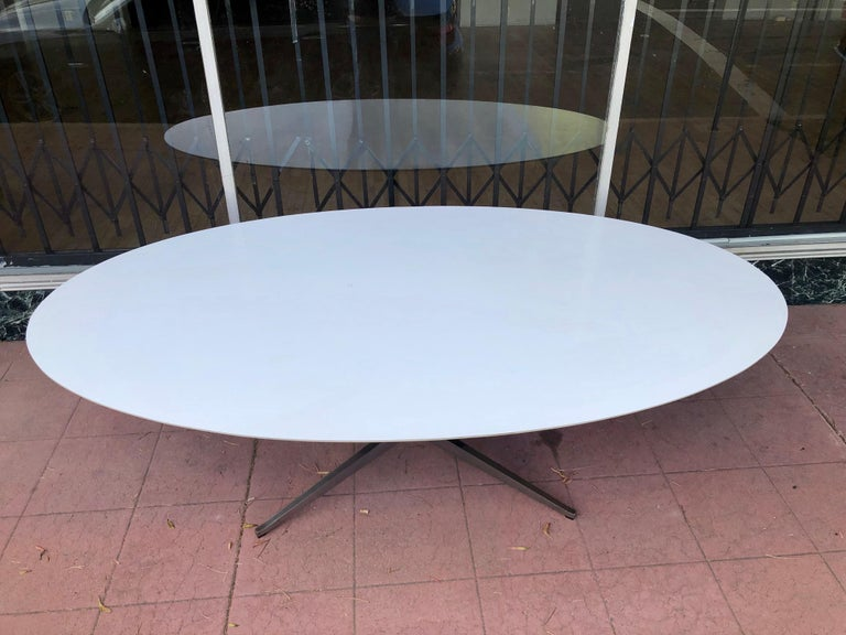 Mid-Century Modern Florence Knoll Dining or Conference Desk Table Chrome Star Base X Large