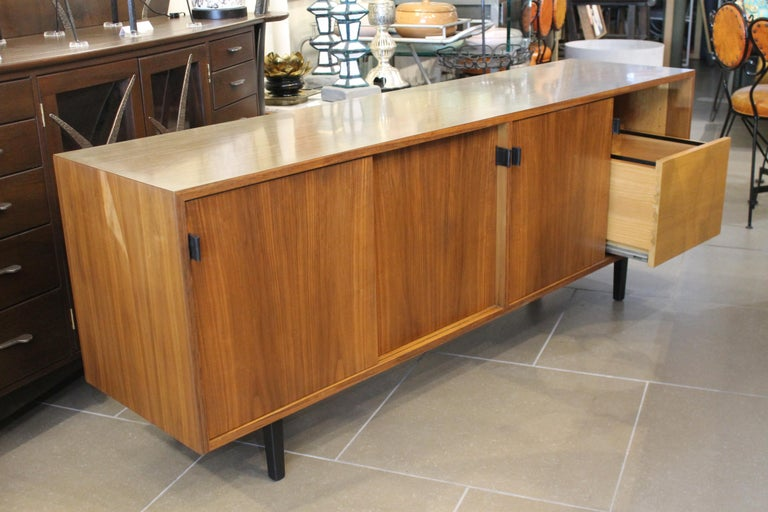 Leather An Early Florence Knoll for Knoll Associates Credenza For Sale