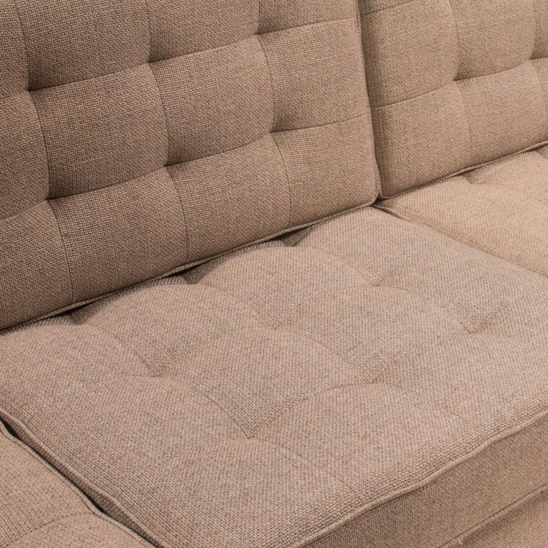 Contemporary Florence Knoll for Knoll Beige Fabric Relaxed Three Seater Sofa For Sale