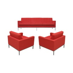 Florence Knoll for Knoll Sofa and Matching Lounge Chairs Living Room Set in Red