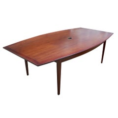 8FT Florence Knoll Boat Shape Walnut Dining Conference Table