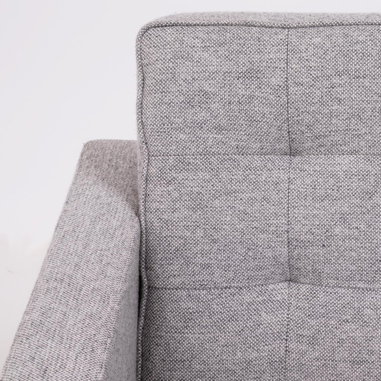 Florence Knoll Grey Tuxedo Lounge Chair For Sale 4