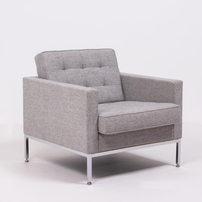 "A rare, original ""Florence Knoll"" lounge chair from the world renown furniture house of Knoll Studio, dressed in a sublime, tactile woven-wool fabric, and with polished chrome framework.