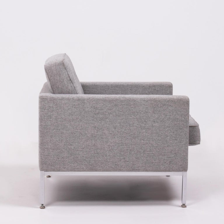 American Florence Knoll Grey Tuxedo Lounge Chair For Sale