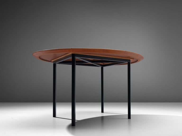Florence Knoll International Oval Dining Table in Teak and Metal For Sale 4