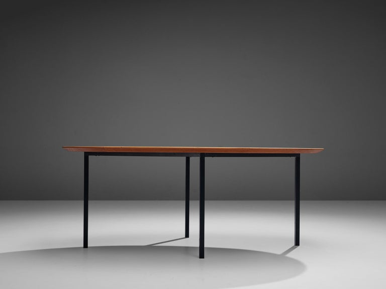 Mid-Century Modern Florence Knoll International Oval Dining Table in Teak and Metal For Sale