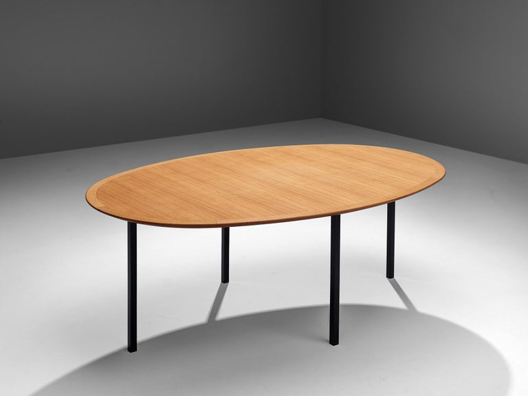 Mid-20th Century Florence Knoll International Oval Dining Table in Teak and Metal For Sale