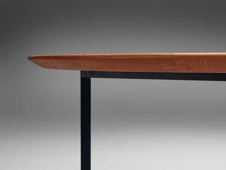 Florence Knoll International Oval Dining Table in Teak and Metal For Sale 2
