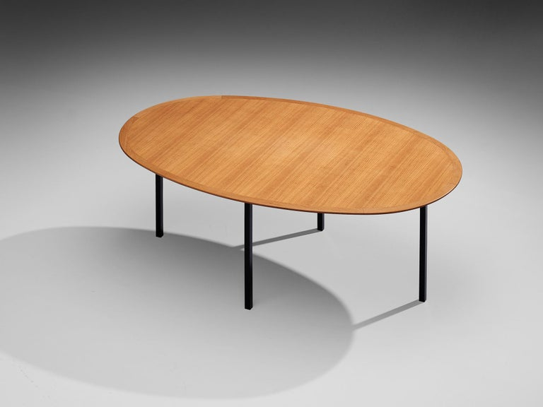 Florence Knoll International Oval Dining Table in Teak and Metal For Sale 3