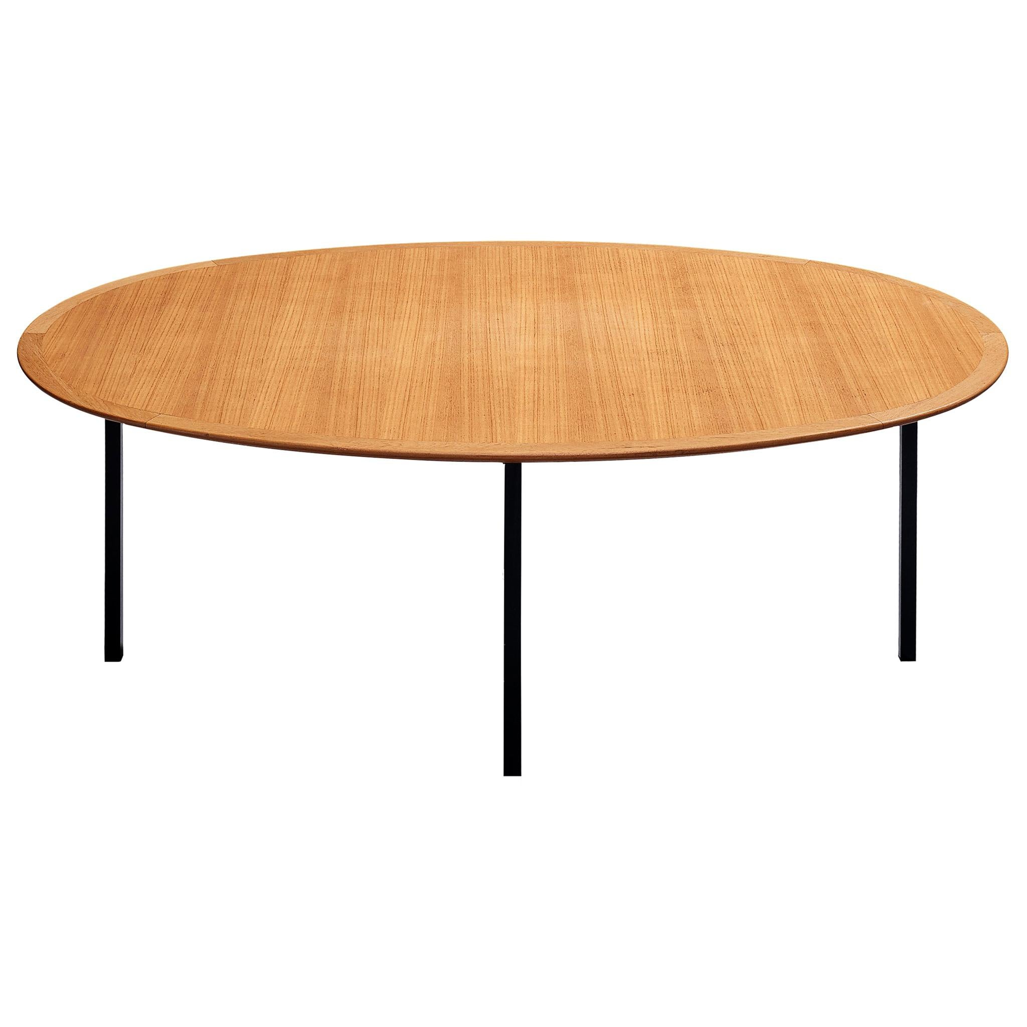 Florence Knoll International Oval Dining Table in Teak and Metal