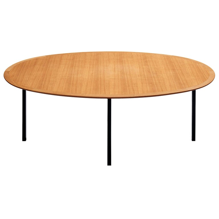Florence Knoll International Oval Dining Table in Teak and Metal For Sale