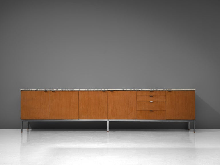 Mid-20th Century Florence Knoll Large Sideboard in Teak and Marble For Sale