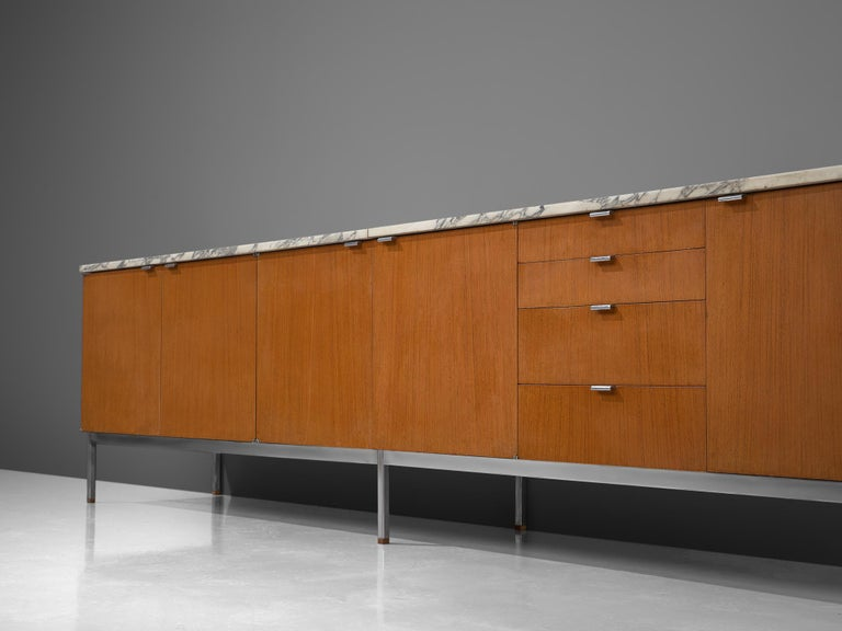 Metal Florence Knoll Large Sideboard in Teak and Marble For Sale