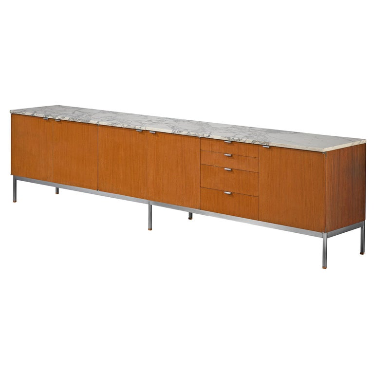 Florence Knoll Large Sideboard in Teak and Marble For Sale