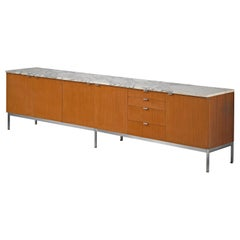 Florence Knoll Large Sideboard in Teak and Marble