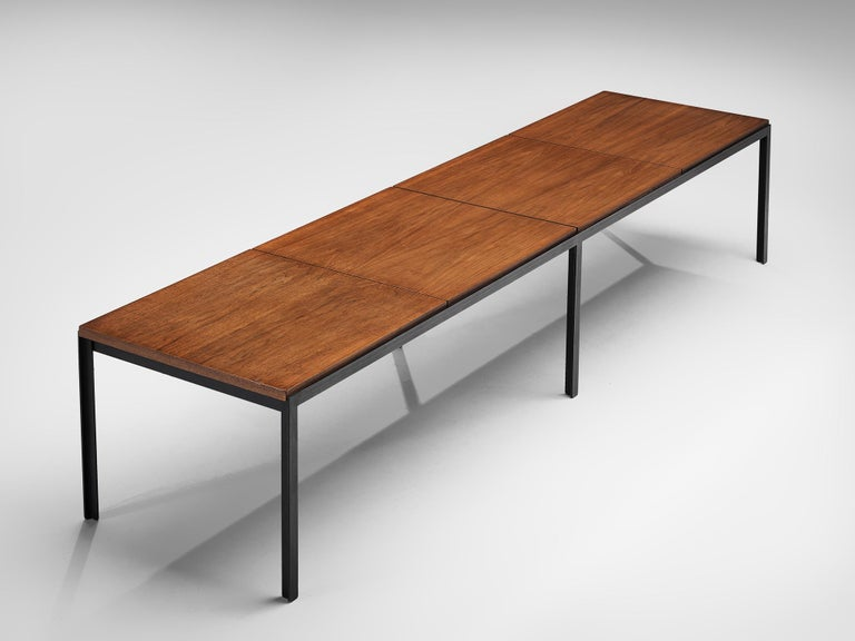 Virgin Islands Florence Knoll Large T-Angle Bench in Teak For Sale