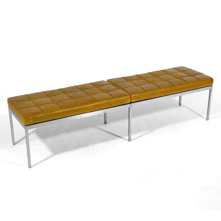 This upholstered bench is one the advanced collector will appreciate. It typifies Florence Knoll's designs aesthetic: refined, understated, with exceptional details and quality materials and construction. Florence learned from Mies the principals of