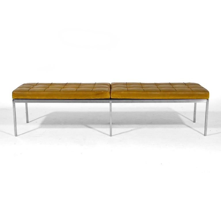 Mid-Century Modern Florence Knoll Leather Bench For Sale