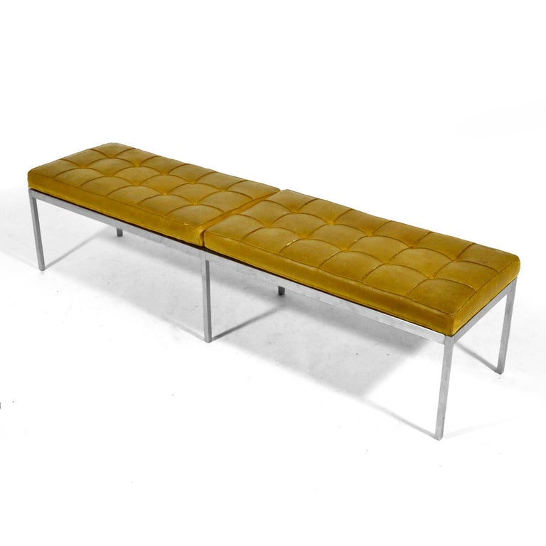 American Florence Knoll Leather Bench For Sale