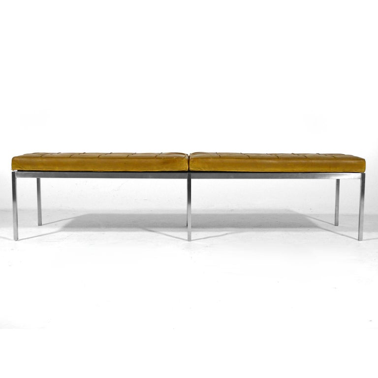 Mid-20th Century Florence Knoll Leather Bench For Sale