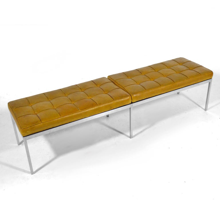 Steel Florence Knoll Leather Bench For Sale