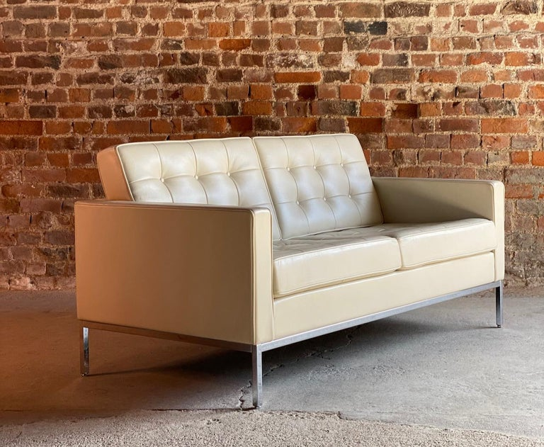 American Florence Knoll Leather Sofa by Knoll Studio For Sale