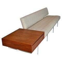 Florence Knoll Long Sofa w/ Table Chrome Frame, 1960's