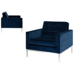 Florence Knoll Lounge Chairs in Navy Velvet, Pair