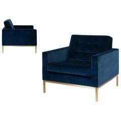 Florence Knoll Lounge Chairs in Navy Velvet with Brushed Brass Frames, Pair