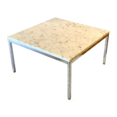 Florence Knoll Marble & Chrome Square Coffee Cocktail End Table