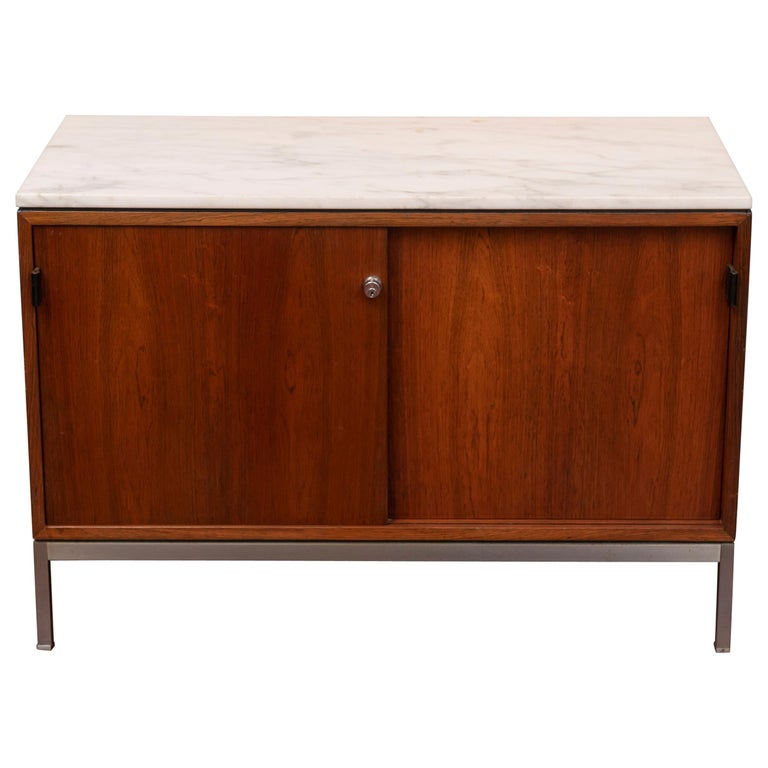 Florence Knoll Marble-Top Rosewood Credenza For Sale