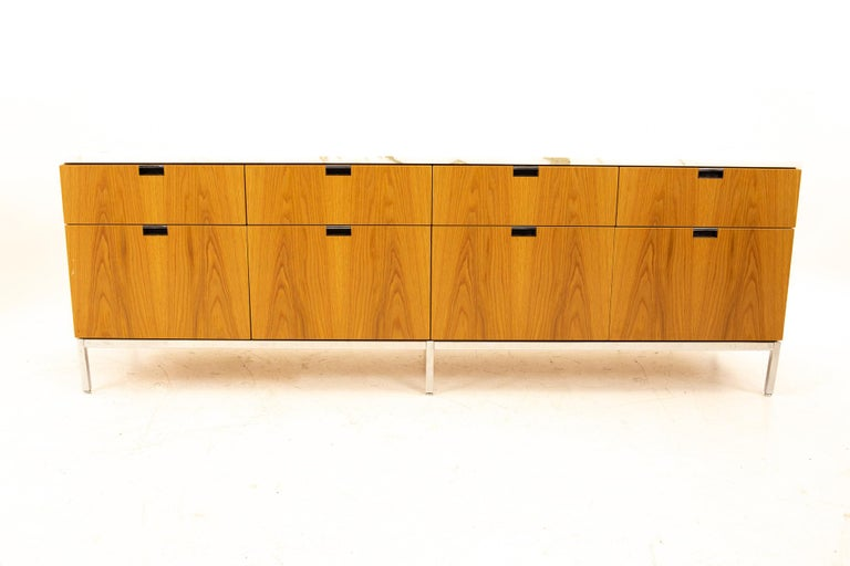 Florence Knoll Mid-Century Modern white marble-top sideboard credenza