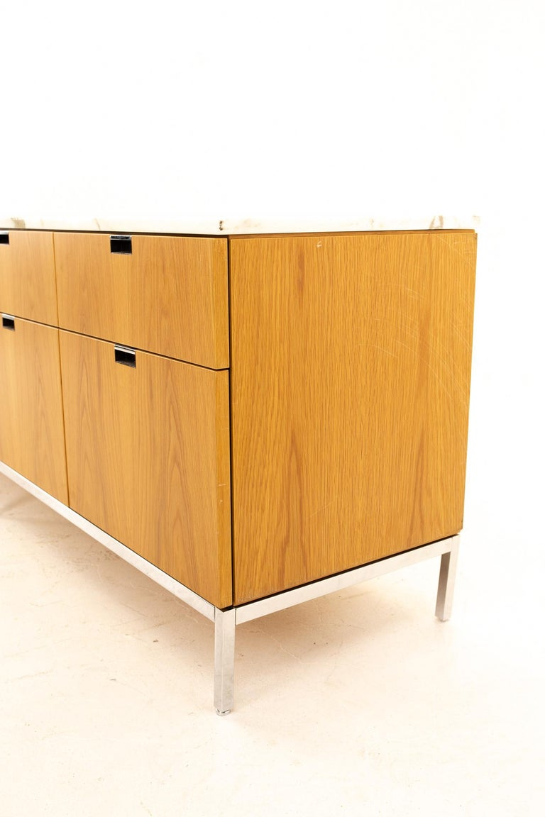 Late 20th Century Florence Knoll Mid-Century Modern White Marble-Top Sideboard Credenza For Sale