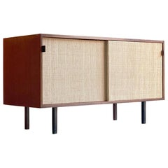 Florence Knoll Model 116 Walnut & Seagrass Credenza, USA, 1948