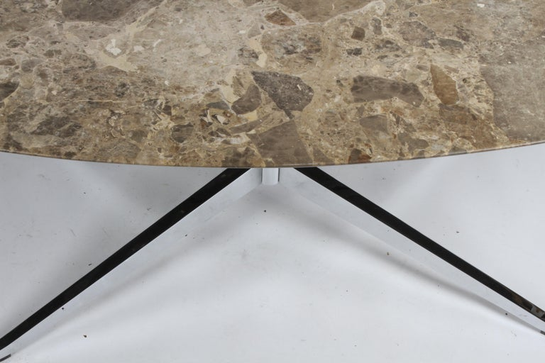 Florence Knoll Oval Emperador Marble Top Dining Table, Conference Table or Desk For Sale 3