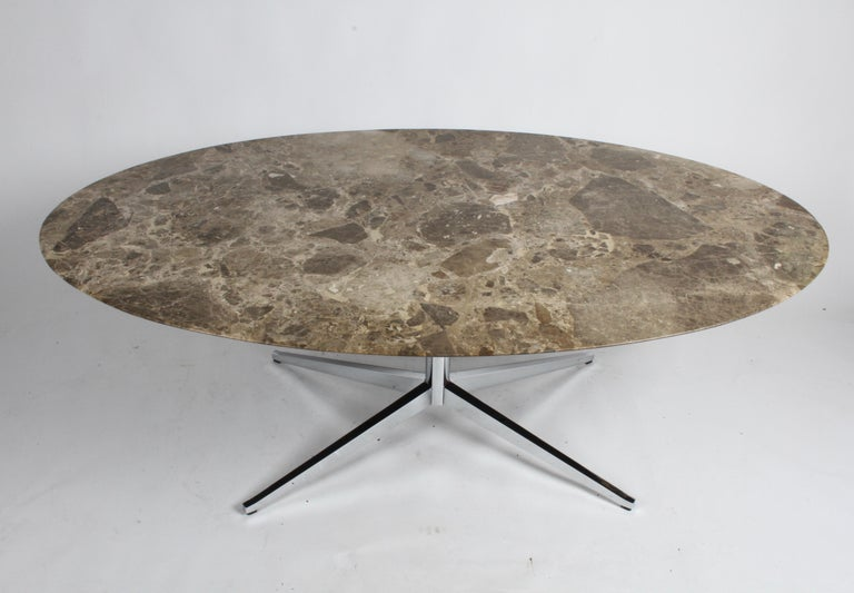 Mid-Century Modern Florence Knoll Oval Emperador Marble Top Dining Table, Conference Table or Desk For Sale