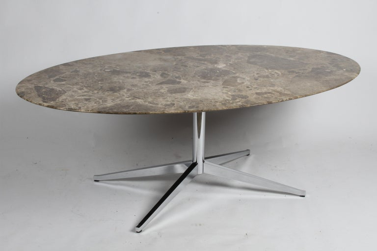 American Florence Knoll Oval Emperador Marble Top Dining Table, Conference Table or Desk For Sale