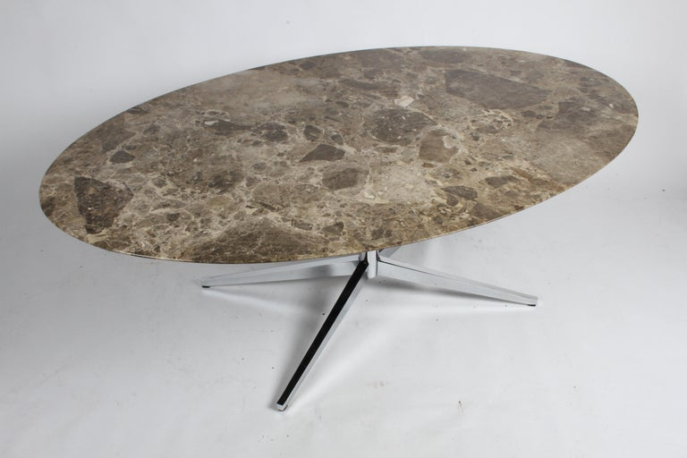 Late 20th Century Florence Knoll Oval Emperador Marble Top Dining Table, Conference Table or Desk For Sale