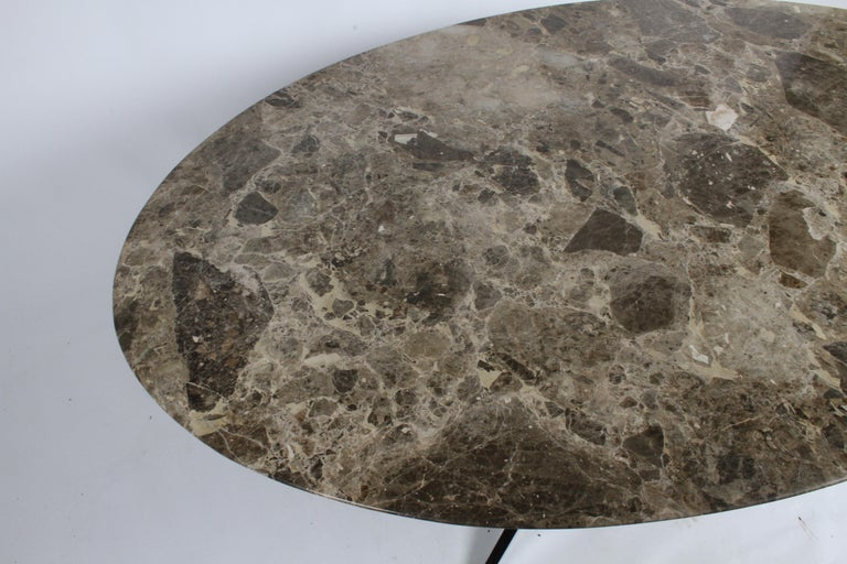 Metal Florence Knoll Oval Emperador Marble Top Dining Table, Conference Table or Desk For Sale