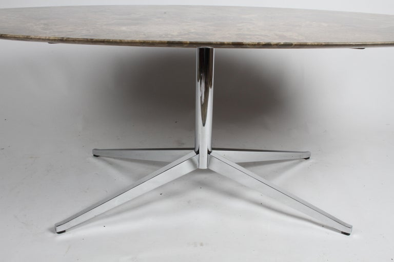 Florence Knoll Oval Emperador Marble Top Dining Table, Conference Table or Desk For Sale 2