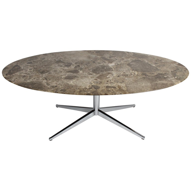 Florence Knoll Oval Emperador Marble Top Dining Table, Conference Table or Desk For Sale