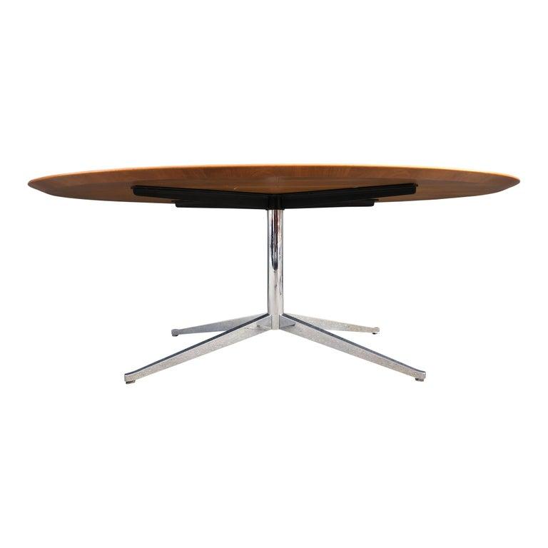 American Florence Knoll Oval Table Desk in Walnut