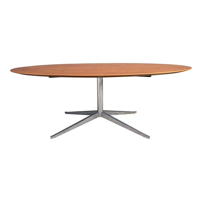 Plated Florence Knoll Oval Table Desk in Walnut