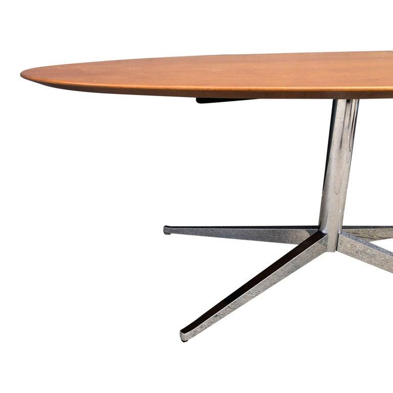 Chrome Florence Knoll Oval Table Desk in Walnut