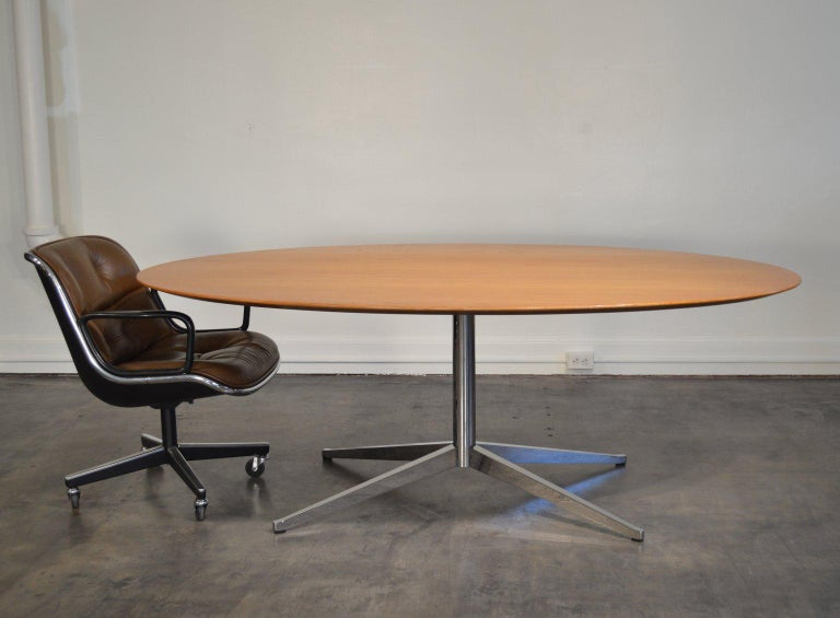 Steel Florence Knoll Oval Table/Desk with Oak Top For Sale