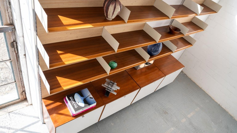 Florence Knoll, Rare Wall Unit, Teak & Seagrass, 1952 for Knoll International For Sale 6