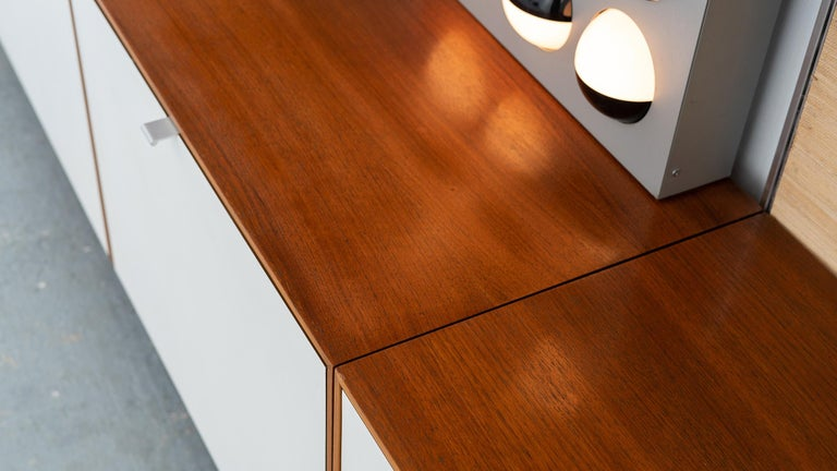 Florence Knoll, Rare Wall Unit, Teak & Seagrass, 1952 for Knoll International For Sale 8