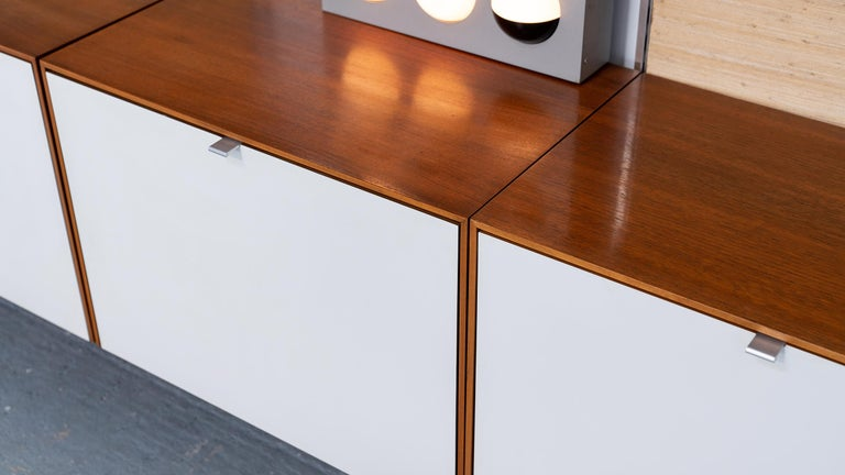 Florence Knoll, Rare Wall Unit, Teak & Seagrass, 1952 for Knoll International For Sale 9