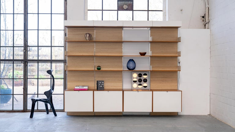 Florence Knoll, Rare Wall Unit, Teak & Seagrass, 1952 for Knoll International For Sale 10